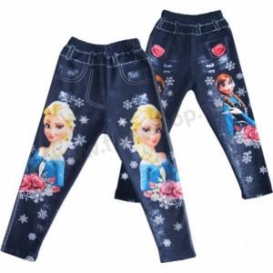 Детские джинсовые леггинсы с яркими рисунками